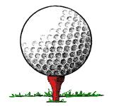 Golfbold på rød tee